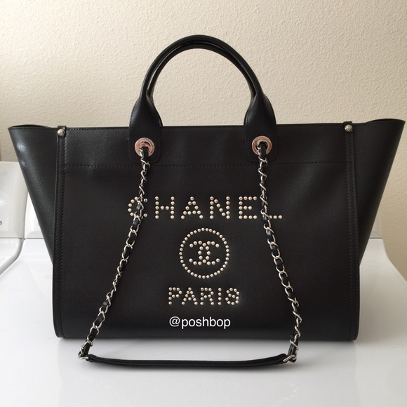 745c93be948 CHANEL All-Leather Studded Deauville Tote